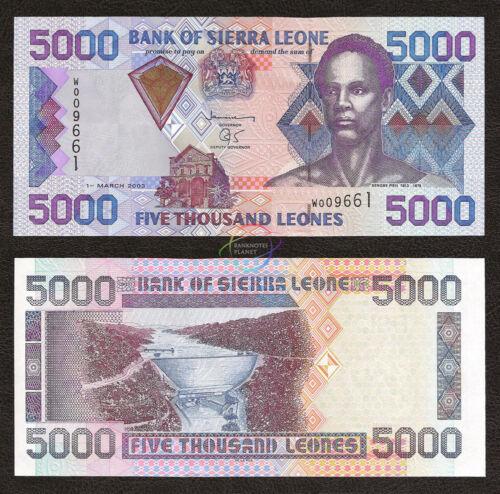SIERRA LEONE 5,000 5000 Leones UNC 2003 P-28