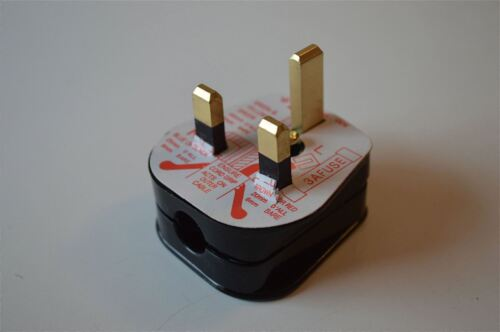 RETRO STYLE 13 AMP BLACK 3 PIN ELECTRICAL PLUG FUSE FITTED LAMP LIGHT PLUG CB23