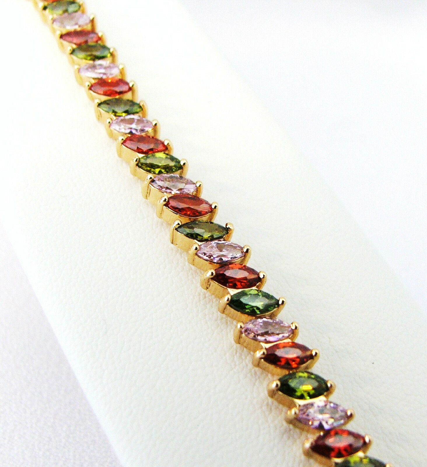 18K gold Plated 13.8 Ct Pink Sapphire, Emerald, and Red Garnet CZ Bracelet, 7