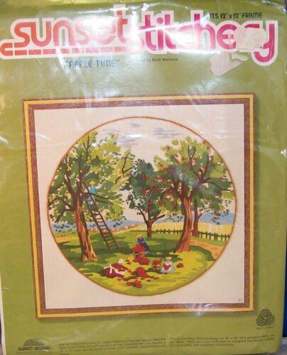 "design from Sunset Stitchery NIP Vintage Crewel KIT-/""APPLE TIME/"" 12/""x12/"" 1980"