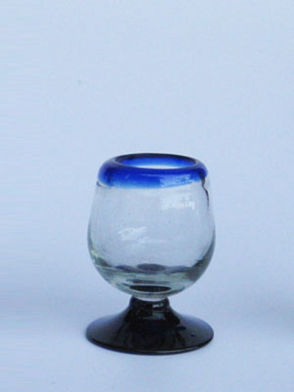 Mexican Glassware - Cobalt bluee Rim tequila sippers (set of 6)