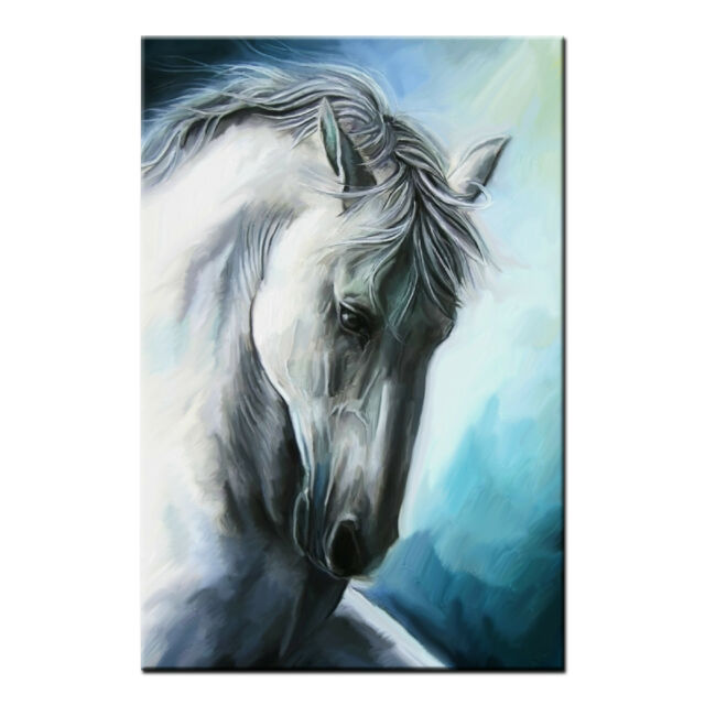 Framed Canvas Prints Living Room White Horse Wall Art Canvas Oil Painting Print