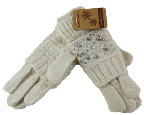 Damen Winter Handschuhe Strass Perlenoptik Glitzer Look Trend Grau Beige Schwarz