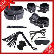 8Pcs Bondage Kit Set Neck Collar Whip Ball Gag Handcuffs Rope Fur Sex Toys