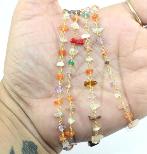 Ch016 Gold Plated Uncut Mix Semi Precious Stone Chips Rosary Chain DIY Jewelry
