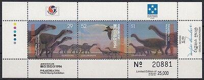 1994 Dinosaurier 380-82 Kleinbogen **, 23374 Mikronesien