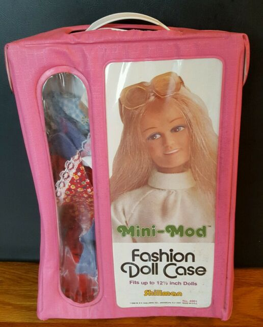 Vintage Mini-mod Shillman Fashion Doll Case full of vintage doll clothes for 12""