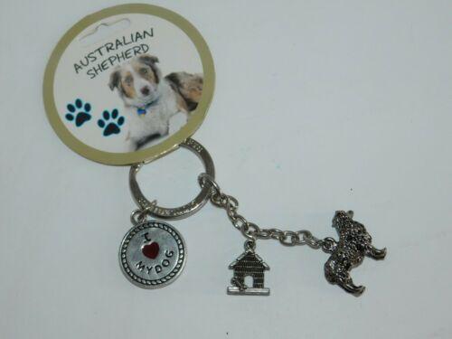 Australian Shepherd Dog Key Chain w// 3 Charms Puppy Doghouse