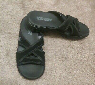 Skechers Black Sport Sandals Women Shoe Size 6 Stretch Athletic Flip Flop  Slide | eBay