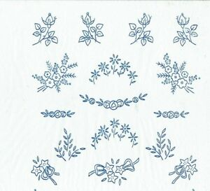 Vintage-Visage-iron-on-embroidery-transfer-small-flower-motifs-2-sheets