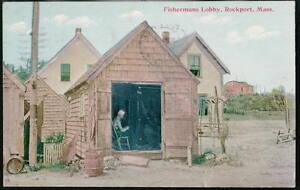 ROCKPORT-MA-Fisherman-039-s-Lobby-Antique-Mass-Postcard