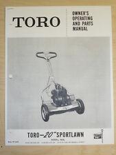"TORO MOWER OPERATING PARTS MANUAL SPORTLAWN 20"""