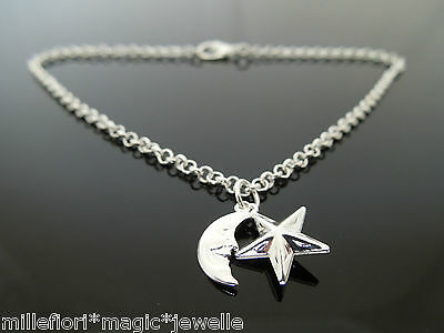 "Silver Plated Bracelet Or Ankle Chain Star & Moon Charms 7"" 8"" 9"" 10"" 11"" etc"