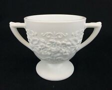 Indiana Milk Glass Depression ORANGE BLOSSOM-Flower & Leaf Band Sugar Bowl