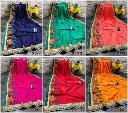 Wedding Bridal Silk Embroidery saree Indian Designer Sari Ethnic Wear