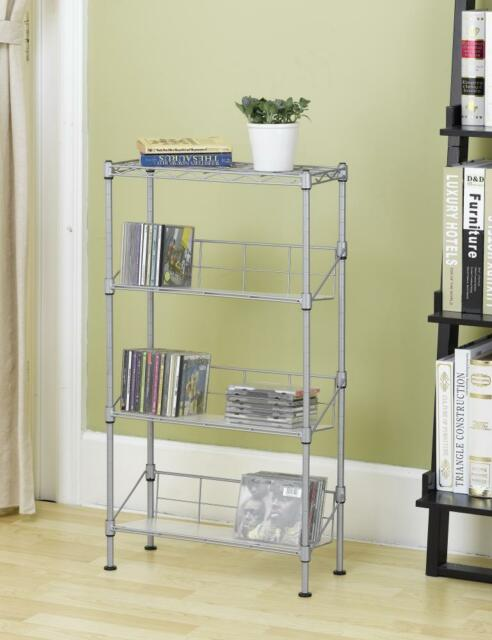 CD Storage Organizer Blu Ray DVD Holder Shelf Audio Rack Stand 4-tier Media & CD Storage Organizer Blu Ray DVD Holder Shelf Audio Rack Stand 4 ...