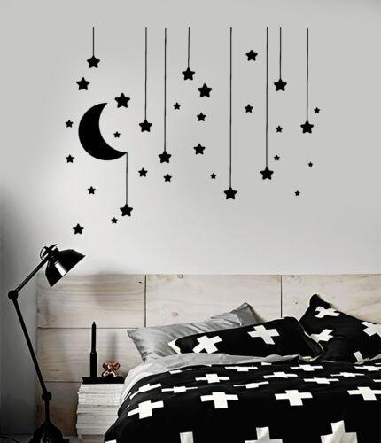 Vinyl Wall Decal Stars Crescent Moon Dream Bedroom Ideas Stickers ig4833