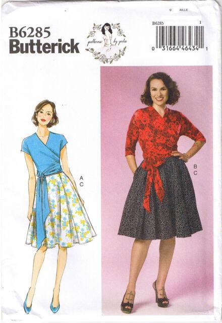 Butterick Pattern B6285 Vtg 50s Retro Knit Wrap Top Skirt By Gertie