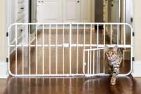 Adjustable Pet Gate Dog Cat Puppies Safety Barrier Metal White With Small Door