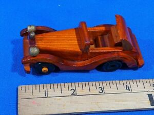 Vintage-Wooden-Toy-Model-Car-Antique-Style-Auto-Early-5-034-Rare-Convertible-3