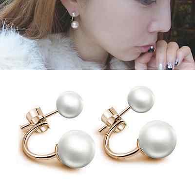 Fashion Jewelry Double Sided Pearl Earrings Elegant Women Ear Studs Ball Beads