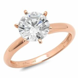 2ct-Round-Cut-Classic-Solitaire-Bridal-Engagement-Promise-Ring-14k-Rose-Gold