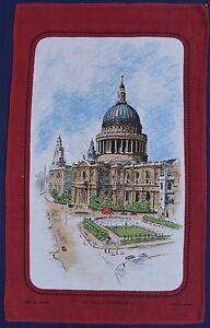 Vintage-Retro-LINEN-COTTON-Tea-Towel-LONDON-St-Paul-Cathedral-Church-Souvenir