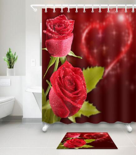 72x72'' Roses Valentine Shower Curtain Bathroom Waterproof 12 Hooks /& Mat 6463