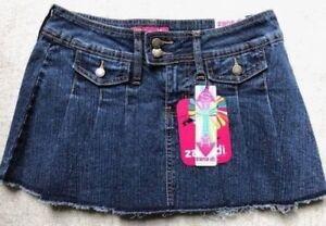 034-Zana-Di-Jeans-034-Women-s-SIze-11-Mini-Skirt-Pleated-Denim-Stretch-Ramie