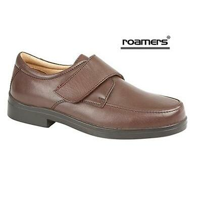 MENS ROAMERS EEE EXTRA WIDE FIT LEATHER TOUCH FASTENING BROWN SHOES SIZE 7 - 13
