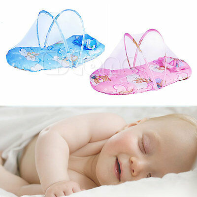 New Portable Infant Baby Bed Crib Foldable Mosquito Net Cushion Mattress Pillow