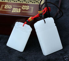 Couple models Chinese hand-carved Natural hetian White Jade Pendant Amulet 2PC