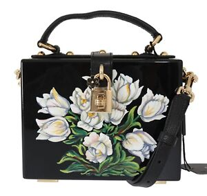 NEW  4900 DOLCE   GABBANA Bag Purse Wooden Box Black Hand Painted ... 2a4761b5af053