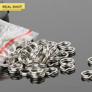 50-100-200Pc-Fishing-Solid-Stainless-Steel-Snap-Split-Ring-Lure-Tackle-Connector