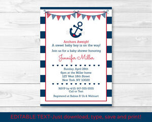 nautical anchor navy blue red printable baby shower invitation