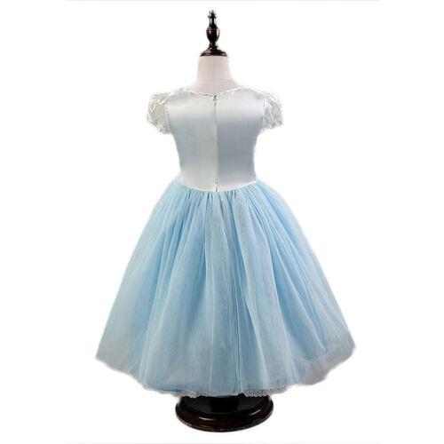 Kid Girl Princess Costumes Fairytale Dresses Cinderella Party Fancy Dress Cape