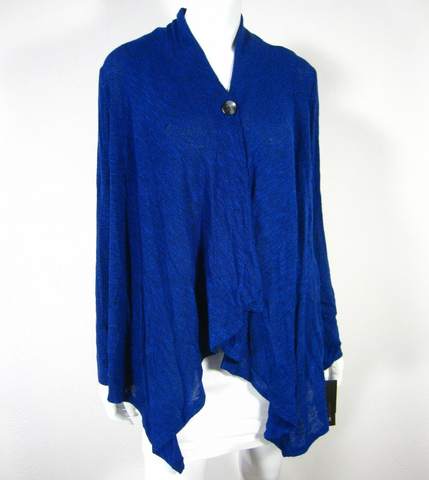 AB Studio NWT Long Sleeve Cardigan ONE BUTTON Drop Down Sweater M Medium bluee