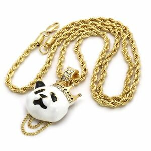Details about 14k Gold Plated Custom Iced Out Hip Hop Crown Panda Pendant  4mm 30