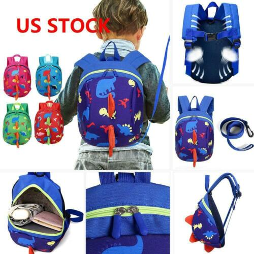 Cartoon Baby Toddler Kids Dinosaur Safety Harness Strap Bag Backpack with Rein