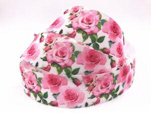 5-10-Yard-1-039-039-25MM-Roses-Printed-Grosgrain-Ribbon-Hair-Bow-Sewing-Crafts-Ribbon