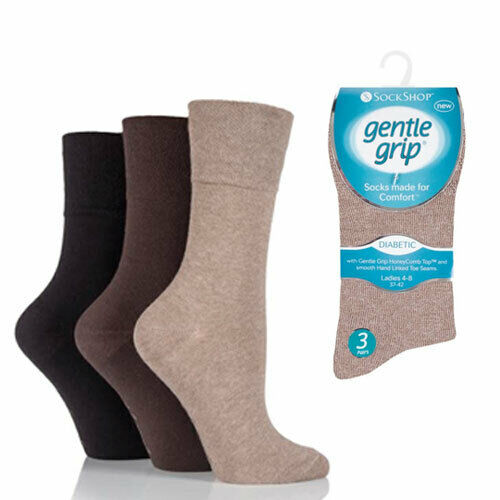 Womens Gentle Grip® Honey Combe Top Diabetic Seamless Non Elastic Socks ALL