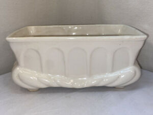 Vtg-40-50-s-Pottery-Ivory-White-Art-Deco-Window-Herb-Garden-Planter-Flower-Vase