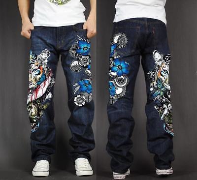 Fashion Men S Hip Hop Jeans Skate Baggy Loose Rap Denim Print Trousers Long Pant Ebay