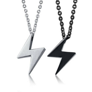 Fashion-Lightning-Pendant-Men-Women-Necklace-Chain-Jewelry-Stainless-Steel-Gift