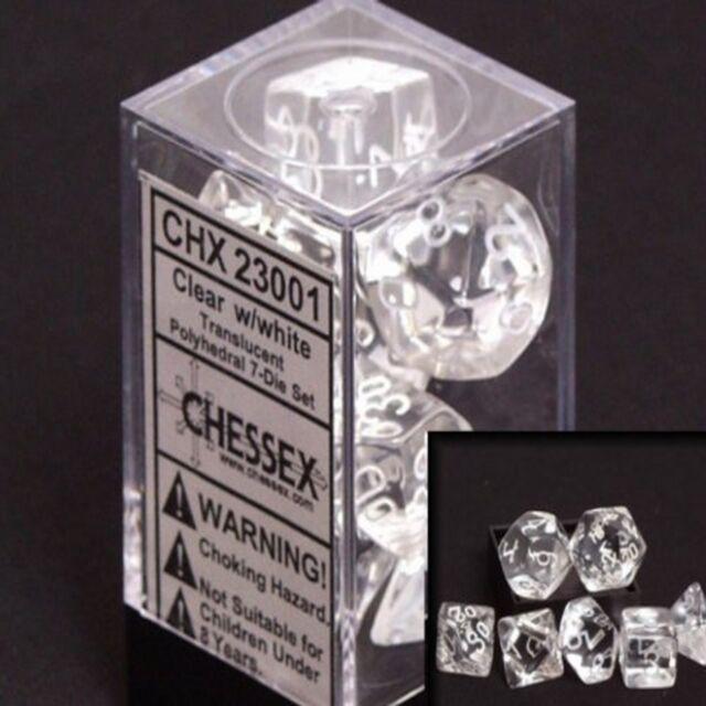 Set 7 dadi Chessex Translucent Clear white Trasparenti bianco 23001 Dice CHX