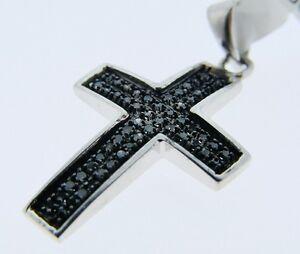 Mens Or Ladies Mini Black Diamond Cross Pendant Charm 1 4 Ct Ebay