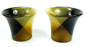 Vintage POTTERY CRAFT Ceramic BROWN & BEIGE Mug Glasses Lot of 2 MADE IN USA