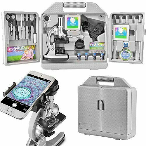 Landove Kids and Beginners Microscope Set with 300x 600x 1200x Magnifications