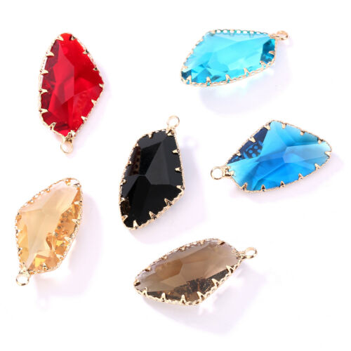 Wholesale 6 Color Crystal Glass Pendant Irregular DIY Necklace Jewelry Making