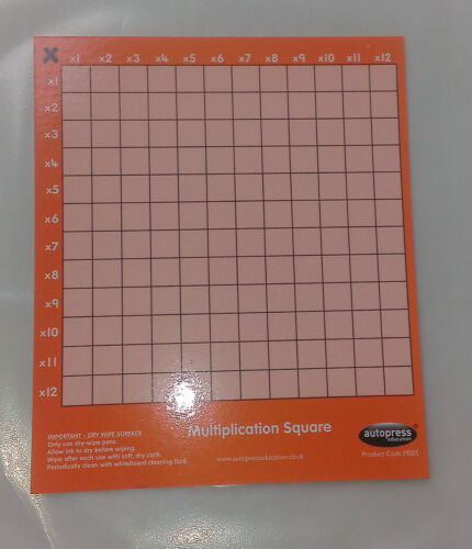with dry-wipe surface New Card approx 16.5cm x 14cm Multiplication Square